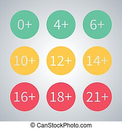 Icons age limit, vector