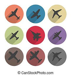 Icons airplanes, vector