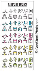 icons airport color blck blue pink Yellow green vector on white background