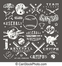 Icons and badges set of baseball team. Graphic design for...
