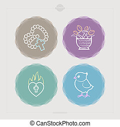 Easter - Icons and symbols of the Christian Easter rituals,...