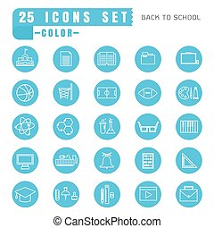 icons back to school color thin white in the circle blue on white background