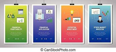 icons., bandera, internet, inversión, financiero, rentabilidad, conjunto