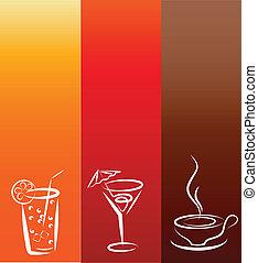 icons;, bevanda, disegno, sagoma
