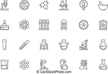 icons., biologie, équipement, toxique, tubes, chimique, science, chimie, objets, vecteur, essai, laboratoire, vases bec, ensemble