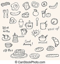 Icons breakfast foods