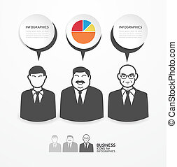 icons business people with dialog speech bubbles / can be...
