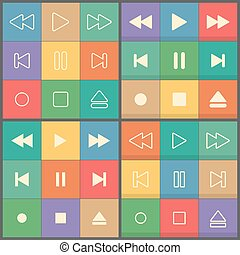 Icons buttons for flat UI player