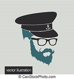 icons captain hairstyles beard and mustache hipster full face