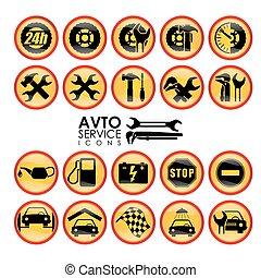 Icons car service.