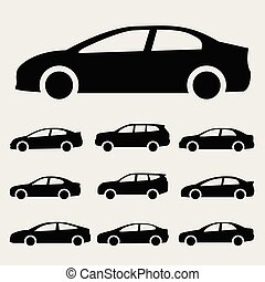 icons cars vector set