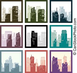 Set of square abstract icons of city high-rise buildings in frame.