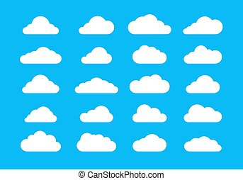 Icons cloud vector, White flat cloudy on blue background