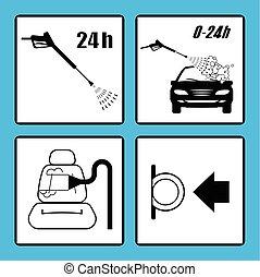 icons., coche, conjunto, lavado