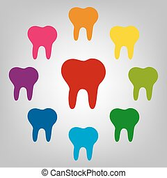 Icons colorfull set - Tooth vector sign. Icons colorful set...
