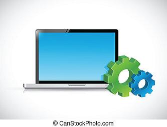 icons., computador laptop, engrenagem, ilustração
