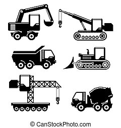 Icons construction - Set of icons construction. Crane and...