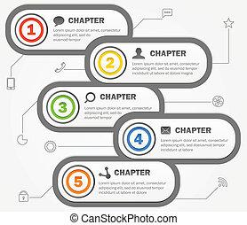 icons., conteúdo, vetorial, desenho, modelo, infographics, ...