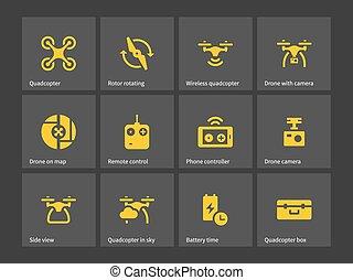 icons., controllo, quadrotor, remoto