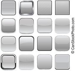 icons., cuadrado, app, gris