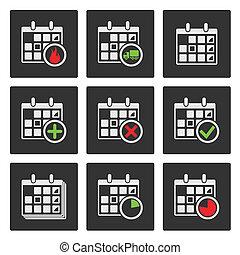 icons., delivery., vector, progreso, acontecimientos, calendario