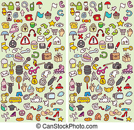Icons Differences Visual Game. Task: find 10 differences!...