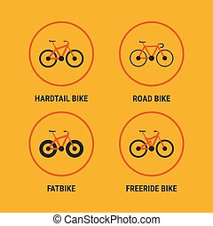 Icons Different Bicycle Bikes Option 1. Vector Illustration....