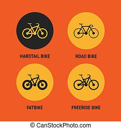 Icons Different Bicycle Bikes Option 3. Vector Illustration....