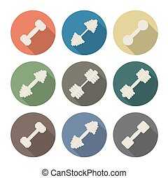 Icons dumbbell, vector illustration