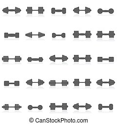 Icons dumbbells, vector
