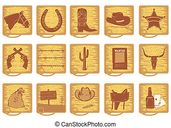 Icons elements for cowboy life. Vector brown silhouettes on white