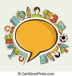 icons., escola, educação, costas, coloridos