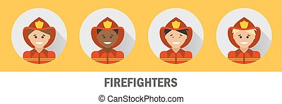 Icons firefighters of different nationalities. Fireman icon set