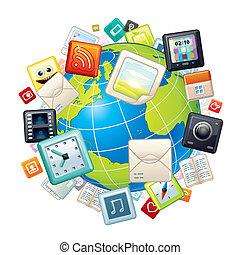 Icons Flying Around Globe. Vector Graphics