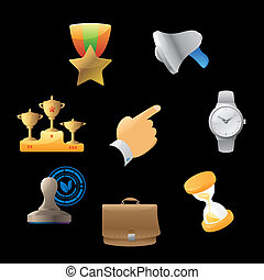 Icons for business metaphors and symbols. Vector ...