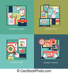 icons for business tools, documents in flat design