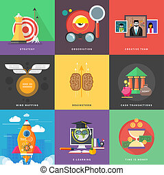 Icons for cash transactions, headwork, strategy, start up