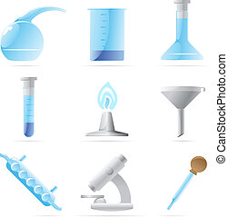 Icons for chemical lab. Vector illustration.