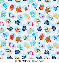 Icons for Cloud network ,seamless pattern