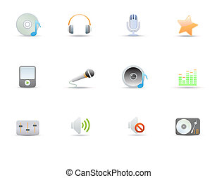 icons for common digital music media - illustration - set of...