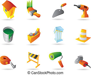 Icons for construction industry and tools. Vector...