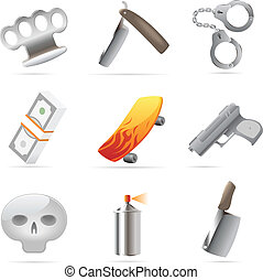 Icons for crime. Vector illustration.