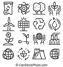 Icons for ecology, green technology.