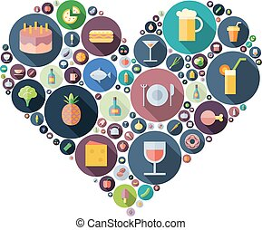 Icons for food and drink arranged in heart shape