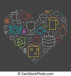 Icons for food and drinks arranged in heart shape