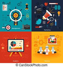 Icons for marketing, management, analytics.