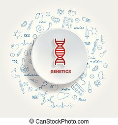 Icons For Medical Specialties. Genetics Concept. Vector Illustration With Hand Drawn Medicine Doodle. Molecule, Structure, Biotechnology, Chromosome, Cell, Spiral