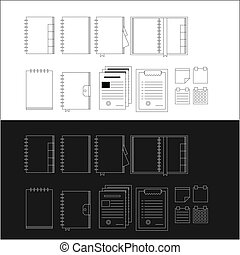 Contour icons for notebooks for business on black and white backgrounds.