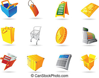 Icons for retail business. Vector illustration.