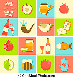 icons for Rosh Hashanah - symbols of Rosh Hashanah (Jewish...